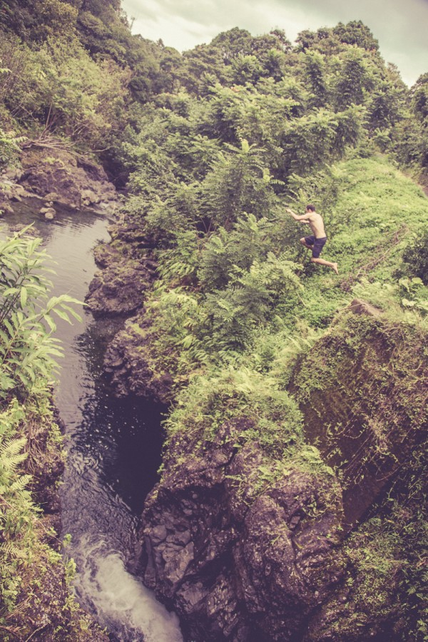 Ryan and a roadside cliff jump with a thread the needle landing to cool off.